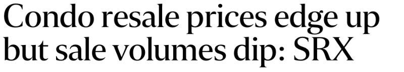 Condo resale price edge up.