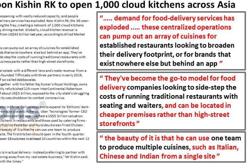 Singapore property tycoon Kishin RK to open 1,000 cloud kitchens across Asia