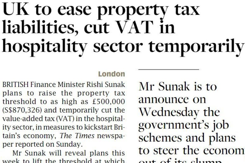 UK to ease property tax liabilities, cut VAT in hospitality sector temporarily