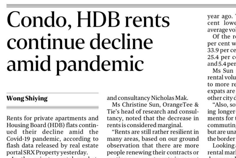 Condo, HDB rents continue decline amid pandemic